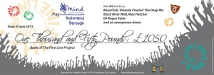 The Fine Line Project cheque for Mind designed by Patrick Barthes